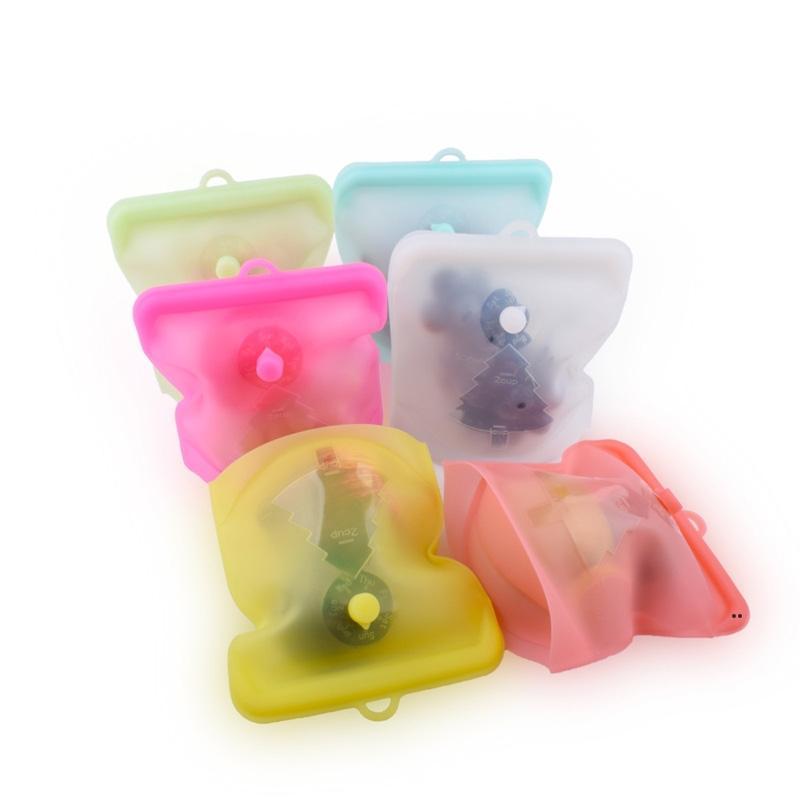 Стержень свободный с датой указатель еда сорт силиконовые сумки для хранения фрукты упаковывая самоконтрольные сумки сумка 500 мл FWE8616