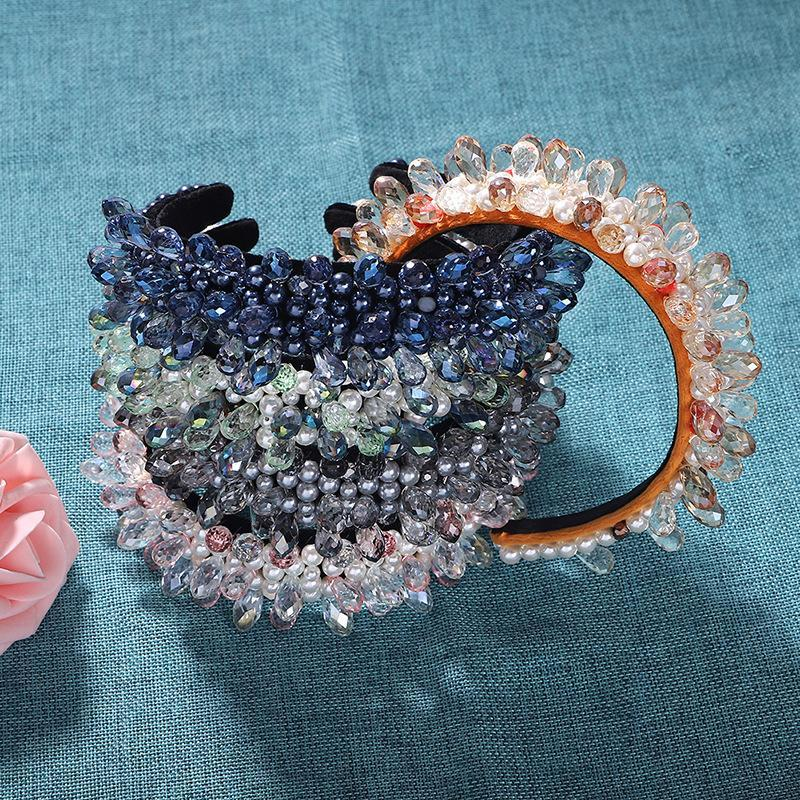 Sparkly BAROQUE Rhinestone Bantlar Kadınlar için Saç Aksesuarları Renkli Tam Kristal Şeffaf Boncuklu Hairband Şapkalar Klipler Barrettes