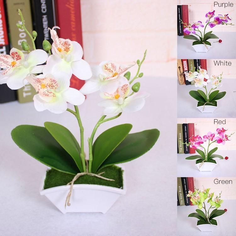 Dekorative Blumen Kränze Künstliche Schmetterling Orchidee Blume + Vase Set Echte Berührung Blätter Pflanzen Gesamt Floral Für Hochzeitsgeschenk Swing TA