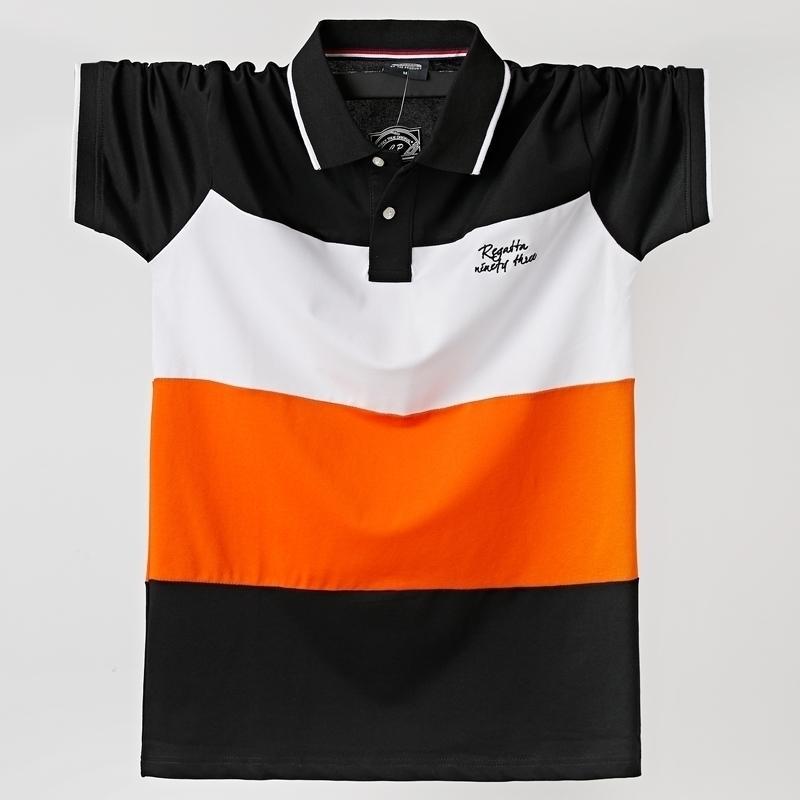 Homens polo camisa verão homens respirável plus tamanho 6xl listrado manga curta polo camisa de algodão homens de negócios roupas tops 210401