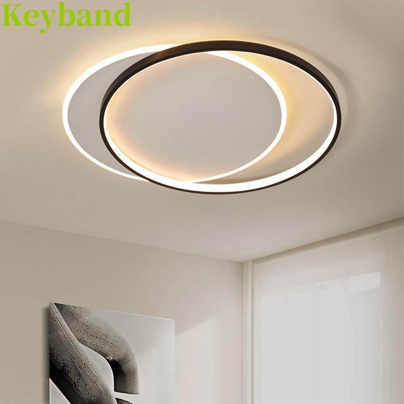 침실에 대 한 기하학 천장 램프 57W LED 라이트 컬러 변경 원격 제어 조명과 무한히 디밍