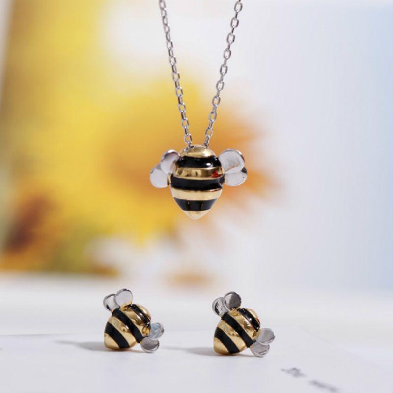 Reizende Biene für Frauen 925 Sterling Silber Honigbiene Halsketten Mode Halskette Ohrringe Schmuckset