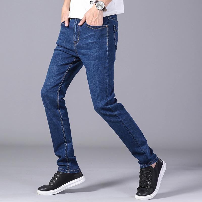Gezeitenmarke blau schwarze jeans männer sommer dünne dünne fit jean hosen elastische casual wear treetwear geraden fallen männer