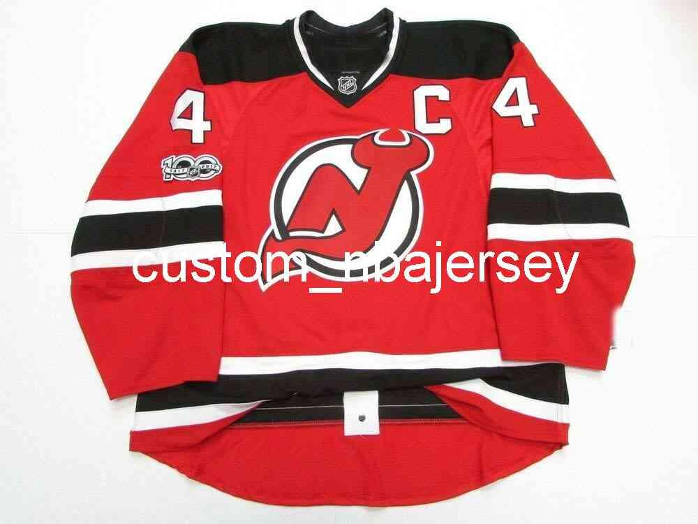 Ricamo Stevens New Jersey Devils Home 100th Anniversary Jersey Hockey da uomo personalizzato Jersey Aggiungi qualsiasi Nome Numero