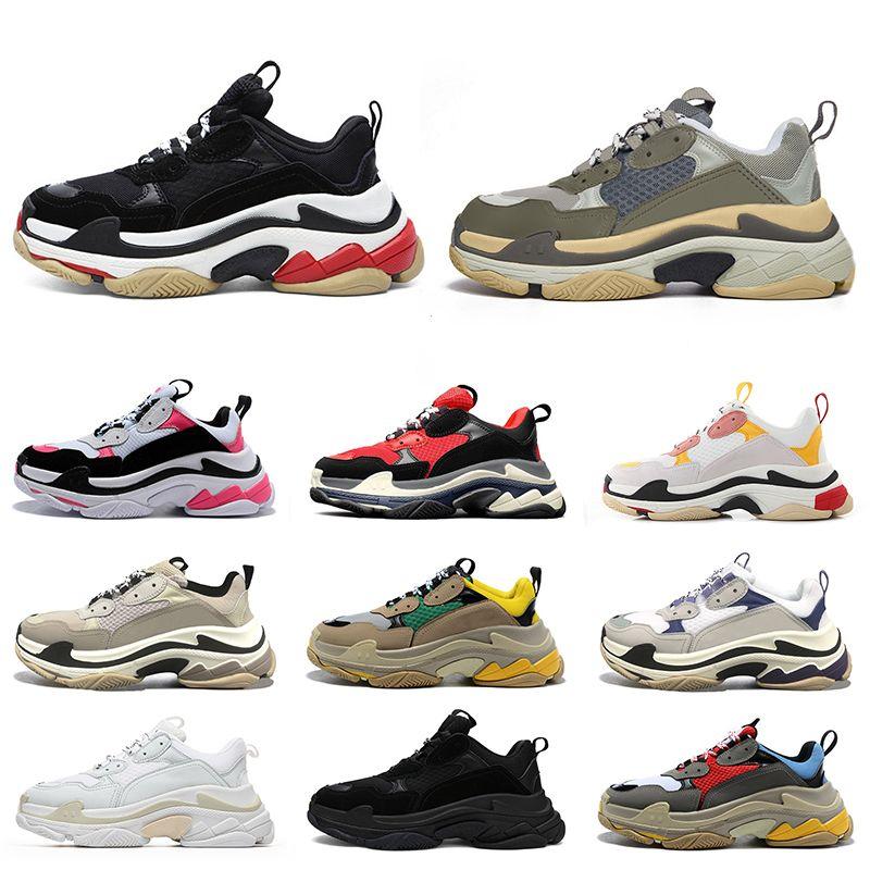 2021 triple s shoes sapatos de grife para mulheres dos homens tênis de plataforma preto branco cinza vermelho rosa mens formadores sapatilha moda pai sapato ocasional