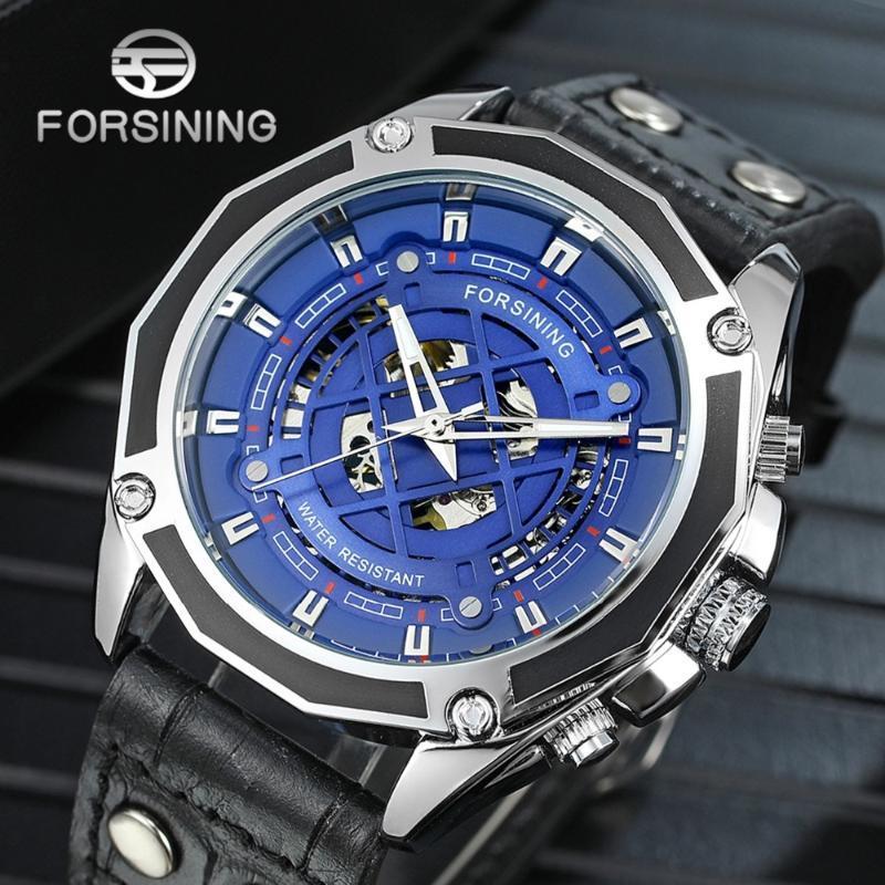 Forsiging Erkekler Otomatik İskelet Mekanik İzle Su Geçirmez İş erkek Bilek Saatler Hediyeler Relogio Masculino Saatı