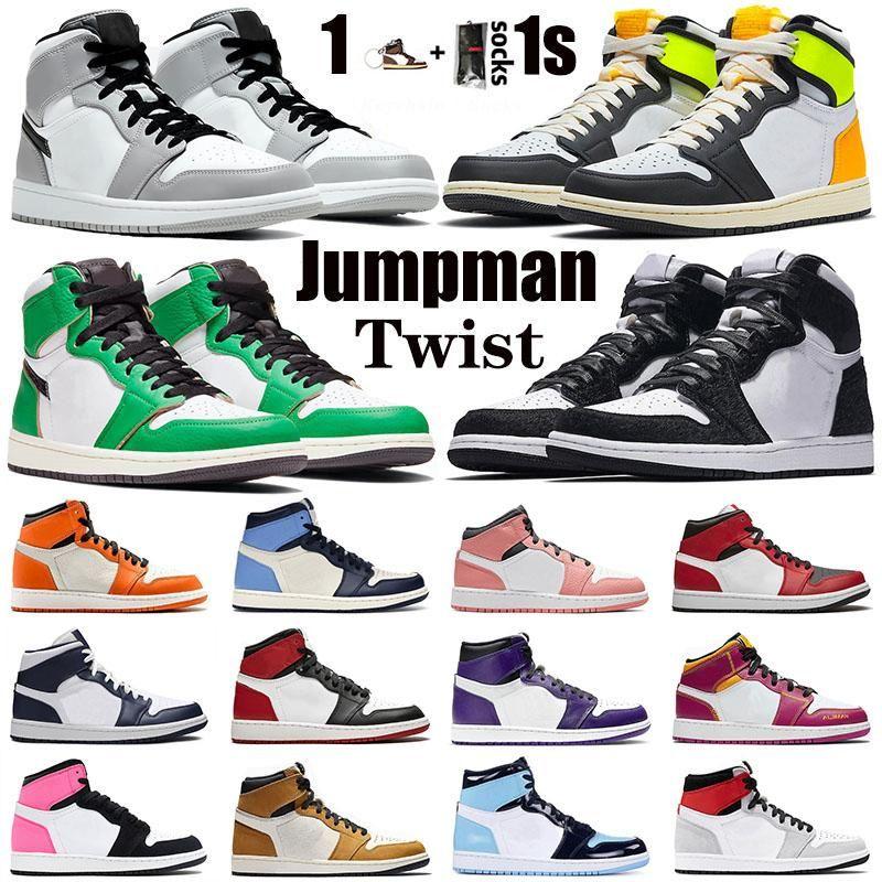 Twist Twist Twist Chaussures de basketball 1 1S Lucky Vert Volt Gold Hommes Jumpan Jumpman Sport Milieu de la fumée Grey Obsidienne Encorniers Sneakers 36-46