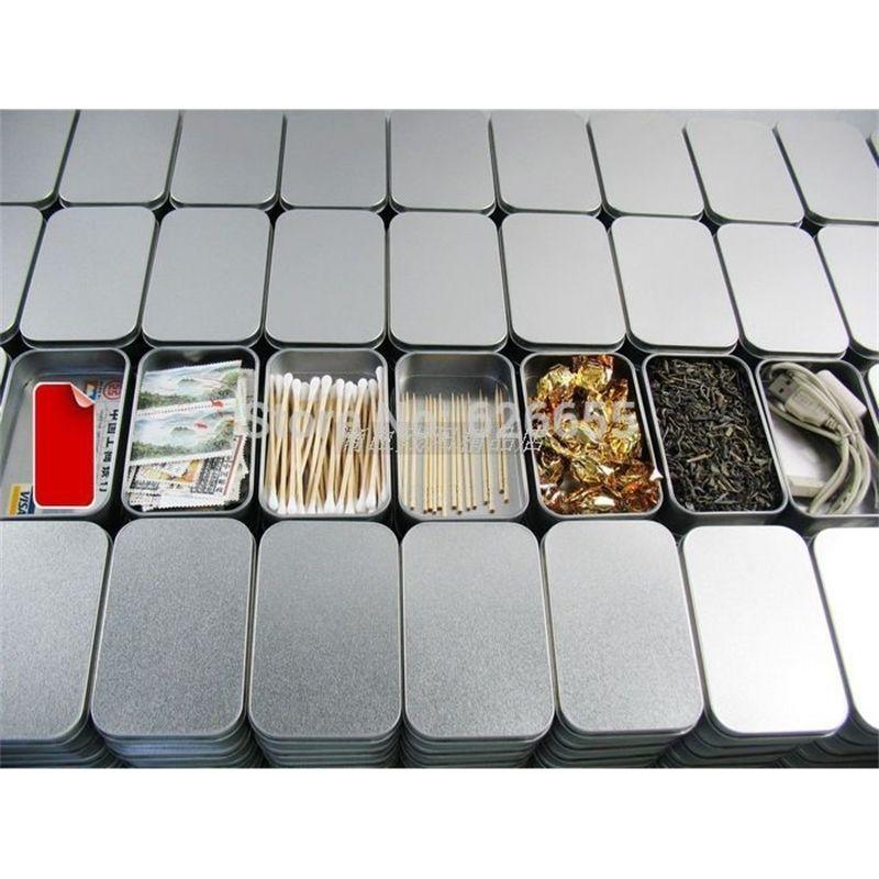 Tin en argent ordinaire 9.4cm 5.9cm x 2,1 cm, rectangle Tea Candy Business Business Board boîte de rangement USB, 20pcs / lot 210331