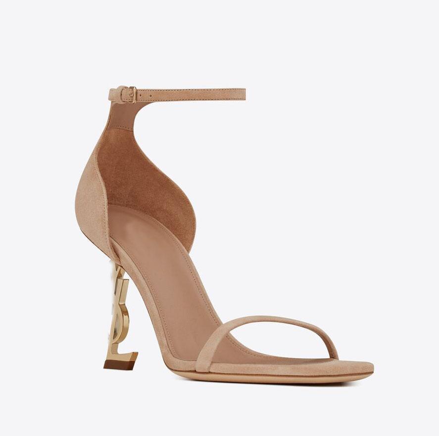 2021 레이디 드레스 파티 샌들 여성 샌들 스웨이드 가죽 하이힐 신발, 발목 스트랩 신발 럭셔리 디자인 오페리 브랜드 디자인 on-힐 블랙 정품 가죽