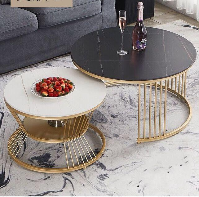 Living Room Furniture manufacturing factory Nordic light luxury marble tabletop, creative stainless steel base coffee table