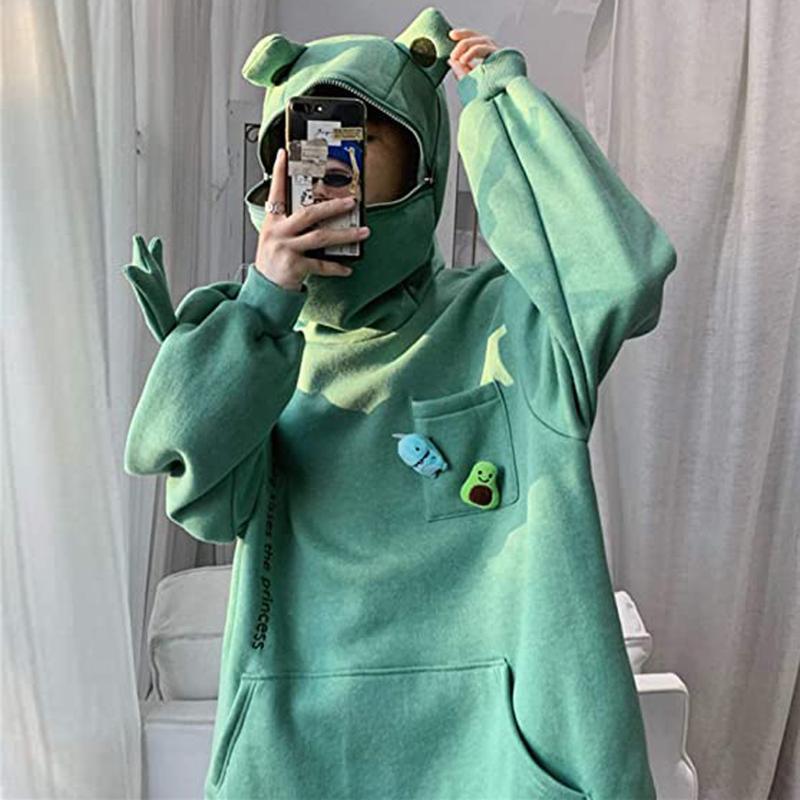 Mulheres Sapo Kawaii Hooded Hoodie Sólida mangas compridas Winter Sweatshirt Design bonito design de bolso animal pulôver Oodie Swoodies SW