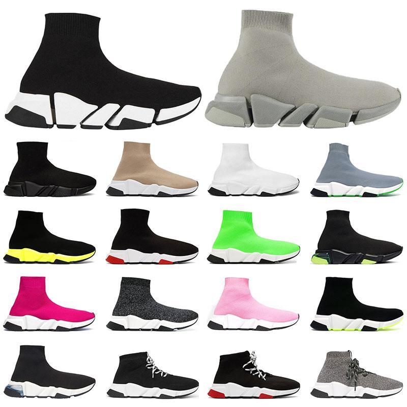 2.0 망 클래식 양말 신발 플랫폼 트리플 블랙 화이트 레드 클리어 솔 옐로우 Fluo Bule 플랫 낙서 유일한 여자 패션 스니커즈