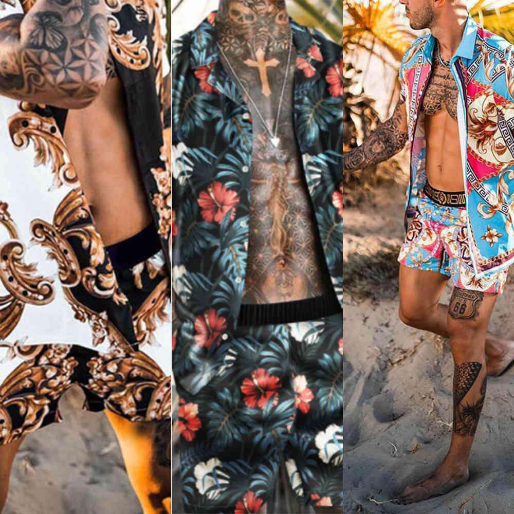 2021 Mens Set Kurzarm Hawaiian Hemd und Shorts Neue Mode Sommer Casual Floral Hemd Strand Zwei Stück Anzug Herren Sets M-3XL x0601