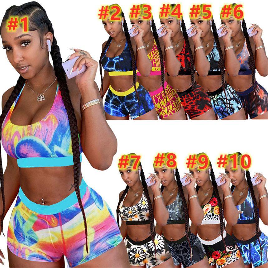 Xs Frauen Sexy Swimwear Sports Zwei Teile Badeanzüge Cartoon Badeanzüge Brief Druck Fahrrad Kleidung Sleeveless Crop Top + Mini Shorts 4745