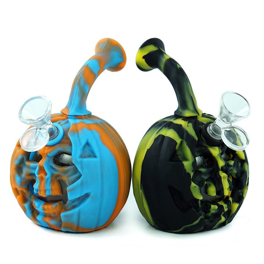 Schädel-Kürbis-Wasser-Bong-Pfeife-Hukahn-Tabak-Bubbler DAB-Rig-Halloween-Überraschung-Geschenk-Huka