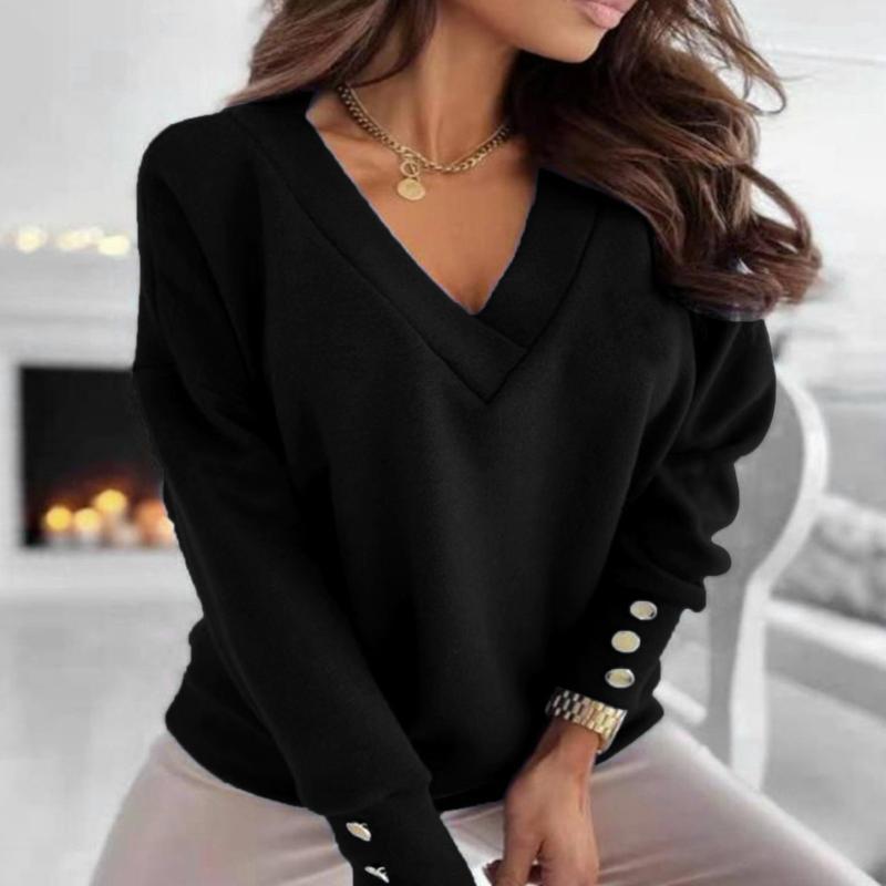 Frauen Blusen Hemden Elegante Bluse Frauen Herbst Tops Damen Casual Lose Massive Farbe Buttons V-Ausschnitt Langärmlige Streetwear Pullover zu