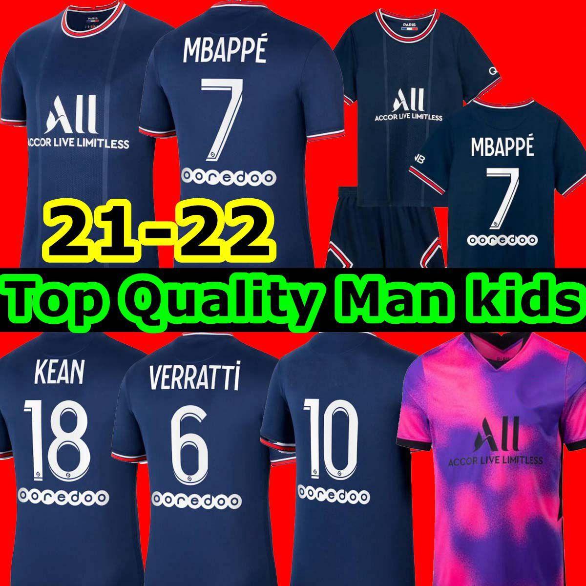 Mbappe Kean Soccer Jersey 21 22 Mailleots de Football Shirts 2021 2022 Marquinhos Verratti Kimpembe الرجال الاطفال مجموعات الزي الزي العريط أطقم الكبار الرابعة مع الجوارب