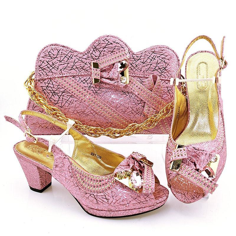 Venta Top Pink WeMon Shoes Match Bolso con bombas y bolsas de cristal African Set para el vestido MM1109, Talón 7.5cm