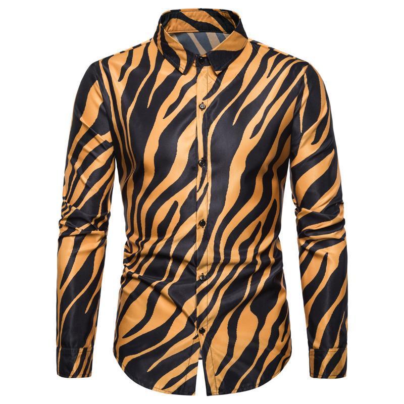 긴 소매 남자 캐주얼 셔츠를 가진 남자를위한 유행 스트라이프 인쇄 플러스 사이즈 슬림 옷깃 셔츠