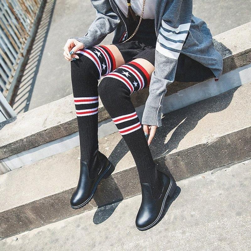 2019 Yeni Sonbahar Kış Örme Bayan Sıcak Streç Kumaş Tutmak Siyah Uzun The Hoş Topuklu Botlar Euramerican Stil Yuvarlak Kafa Savaş BO 14J7 #