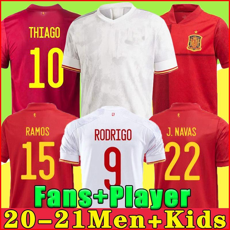 2021 스페인 축구 유니폼 라모스 Pique España 홈 축구 셔츠 20-21 Asensio Morata Isco Iniesta 멀리 멀리 유니폼 남성 + 아이들