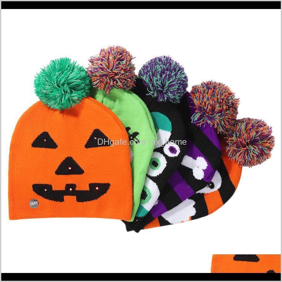 Favor Led Halloween Knitted Hats Kids Baby Moms Warm Beanies Crochet Winter Caps For Pumpkin Skull Cap Party Decor Gift Prop Rra2142 C Gctqu
