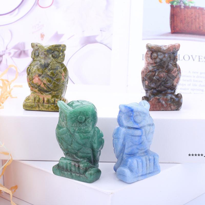 الكريستال البومة الفنون والحرف تمثال الحلي سطح المكتب غرفة المعيشة النمط الصيني حلية 1.5 بوصة HHD8940