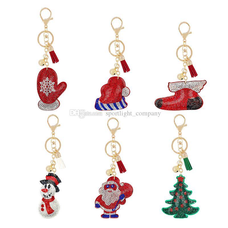 Diamante Keychain Keyring Mulher Meninas Moda Saco Pingente Liga De Veludo Chaveiros Coração Urso Design Chaveiros Presente De Natal Chaveiros