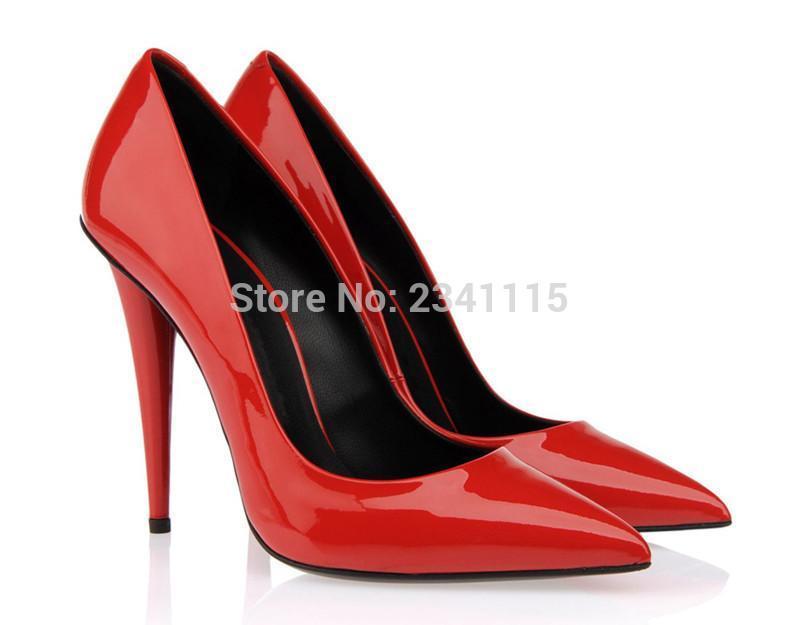 Kadınlar Yüksek Topuklu Ayakkabı Seksi Pompaları Düğün Parti Spike Topuk Sivri Burun Scarpe Donna Kırmızı Siyah Altın Elbise