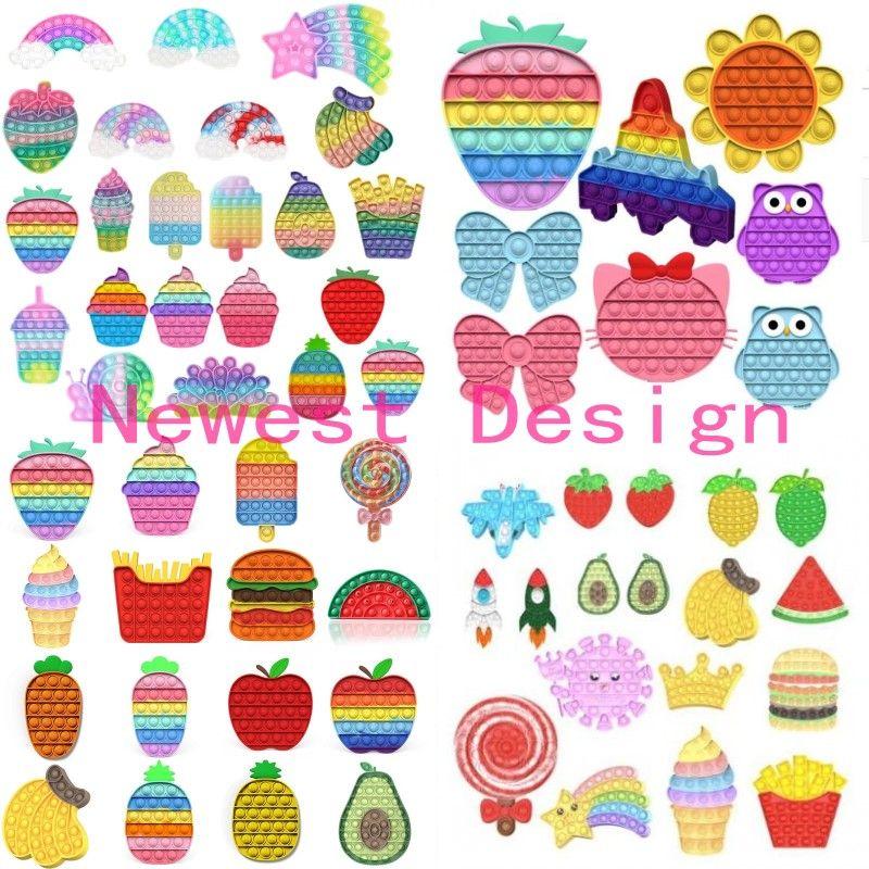 ¡El diseño más nuevo !! Push Bubble Rainbow Forma de animales Tie Dye Fidget Toys Anillo Sensory Pulseras Puzzle Press Finger Bubbles Estrés Pulsera Regalos de Navidad