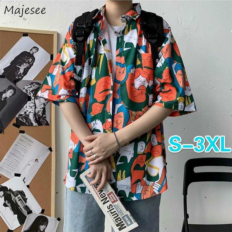 남성 짧은 소매 셔츠 플러스 사이즈 3XL INS 세련된 인쇄 루즈 커플 하와이 남성 모든 일치하는 해변 휴가 Streetwear 한국어 스타일 남성 캐주얼