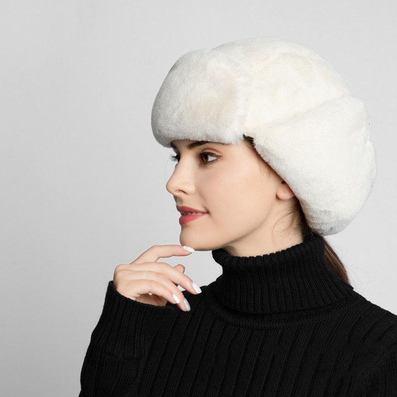 Warmer Bomber für Frauen Neue Mode Weiße Faux Kaninchen Pelz Hüte Mit Ohrklappen Damen Russische Winterkappen Ohrenschützer