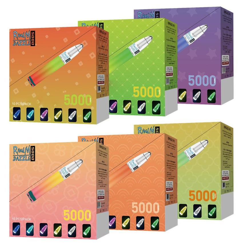 Cigarettes AUTHENTIC RANDM DAZZLE 5000 PUFFS DISPOSABLE POD DEVICE WITH RGB LIGHT VAPE PEN Colors: 6 colors Capacity: 10ml Rechargeable