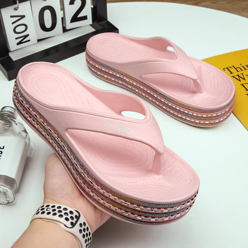 Summer EVA Slippers Mujeres 2021 Alta calidad Flip Flows Plataforma Wedge Sheast Shoes Soft Cómodas Ladies Slides Zapato