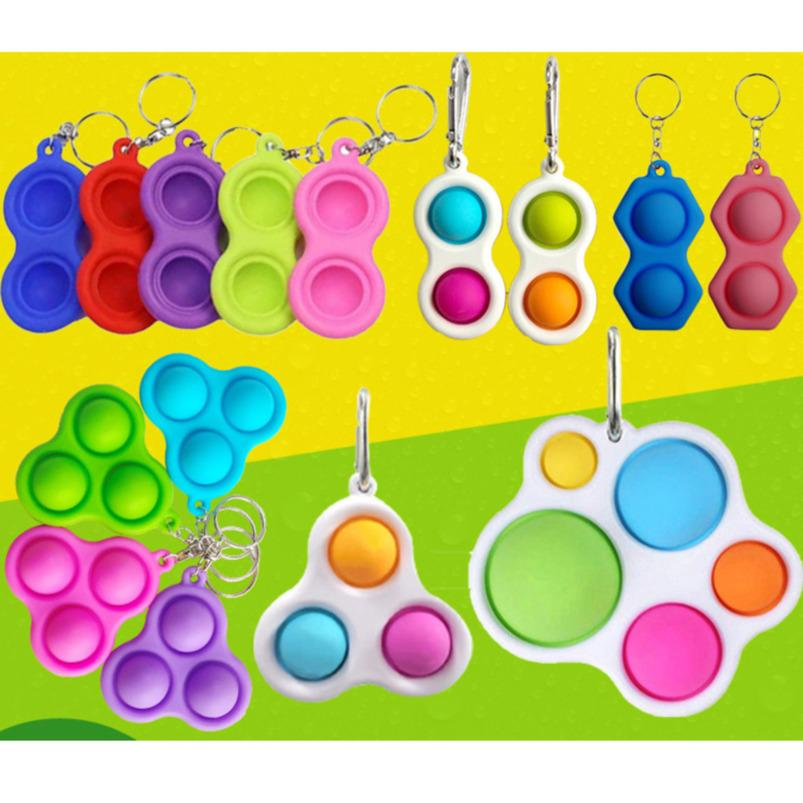 Push Finger Bubble Keychain Toys Kids Adults Six Shape Silicone Fidget Simple Key Ring Decompression Key Chain Pandent H31OQNY
