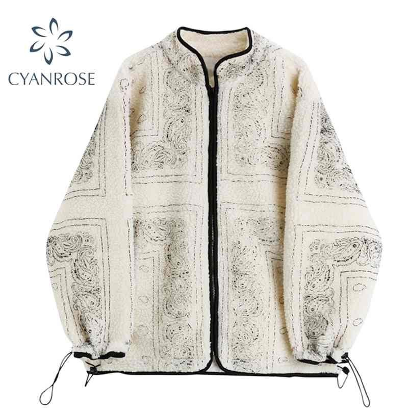 Vintage Stampa Cappotto di pelle di pecora Donne Inverno Zipper Pocket Tasca Calda Calda Giacca Lambswool Giacca Coreano Outwear Style Outwear 210515