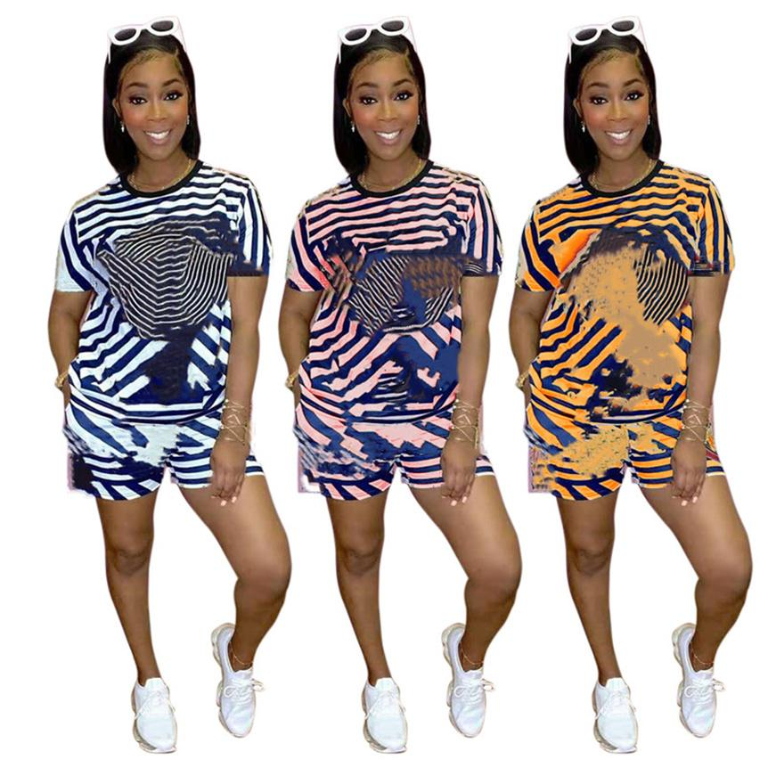 S-2XL Womens casual Tracksuits sports Two piece sets summer clothing striped Outfits t shirt+mini shorts plus size running suit 4788