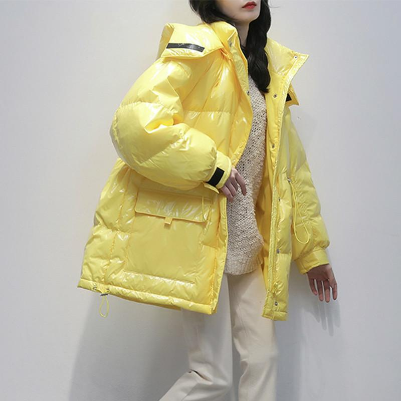 Oloey Lorny Medium Long Style Corean Style Parka Oversize 2021 Glossy Candy Color Down Giacca da donna in vita