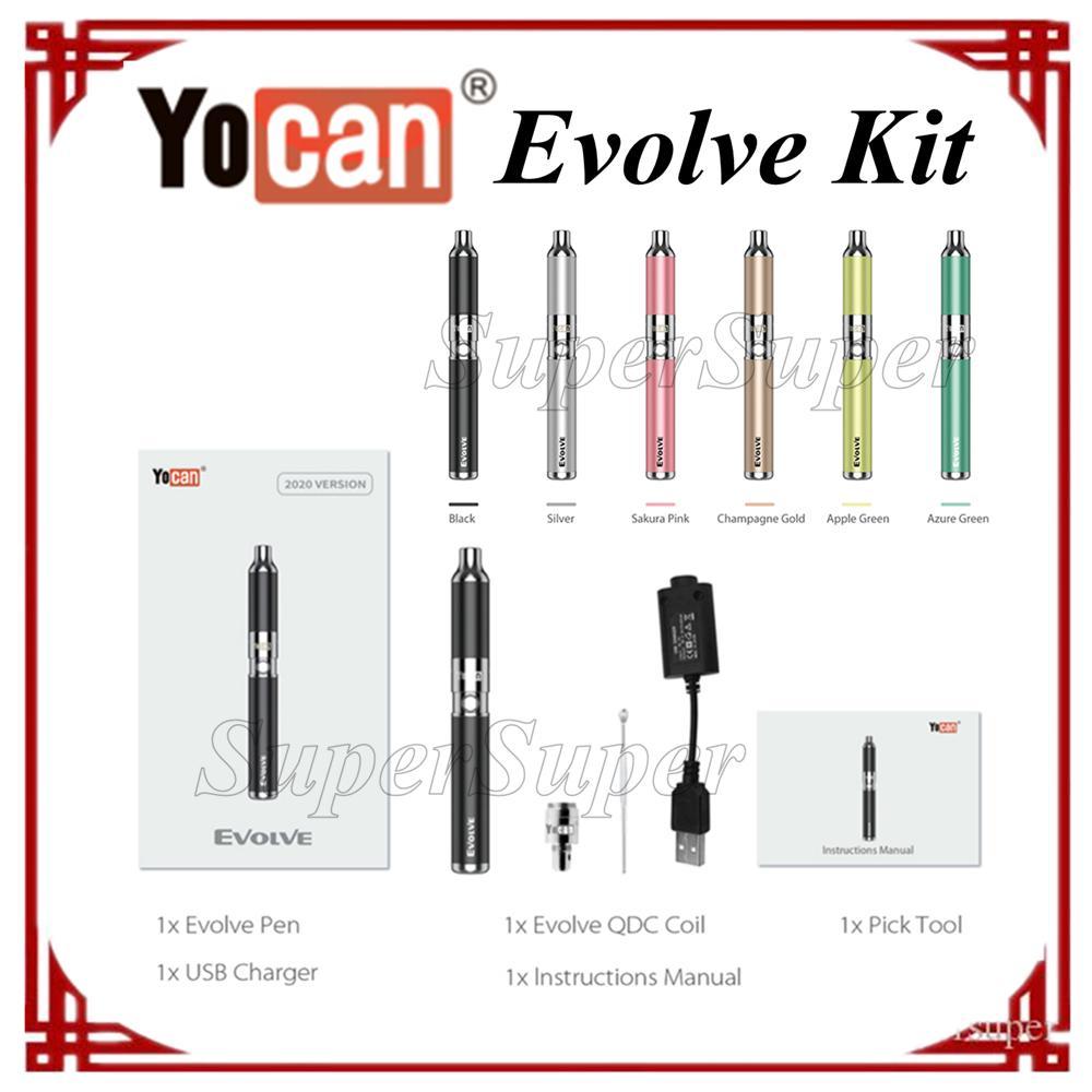 Yocan original Evolucione el kit de vaporizador de hierbas secas 650mAh batería e cigarrillo multicle color rápido nave