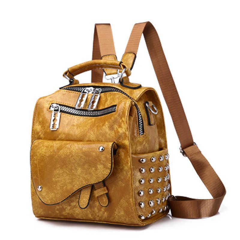 عالية الجودة بو الجلود برشام الظهر للمراهقات مدرسة الكتف حقائب الظهر متعددة الوظائف المرأة الصغيرة mochila موهير Q0528