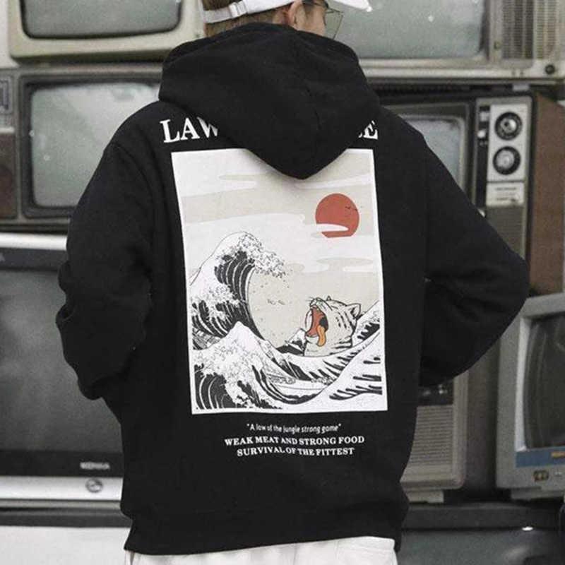 Herbst Japanischer Druck Herren Hoodies Kapuzenbekleidung Lustige Katze Welle Samt Hoody Männer Winter Casual Unisex Black Sweatshirt T200531