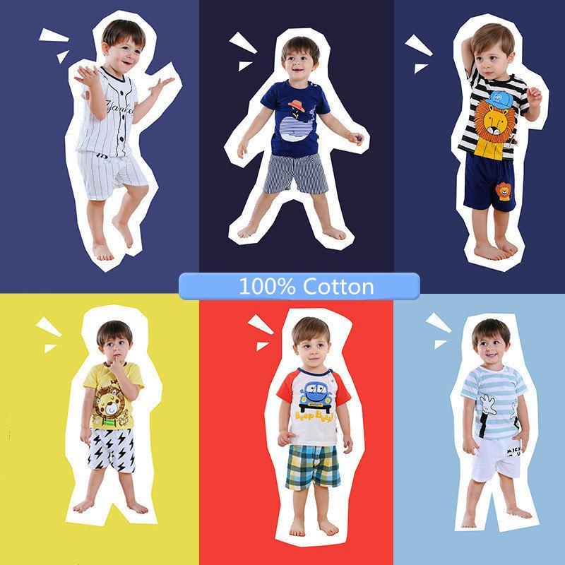 Summer Kids Vêtements Ensemble 100% coton Dessin animé Chemise à manches courtes T-shirt T-shirt + Shorts 2 Tenues 2 pièces Enfants Sportswear 24style