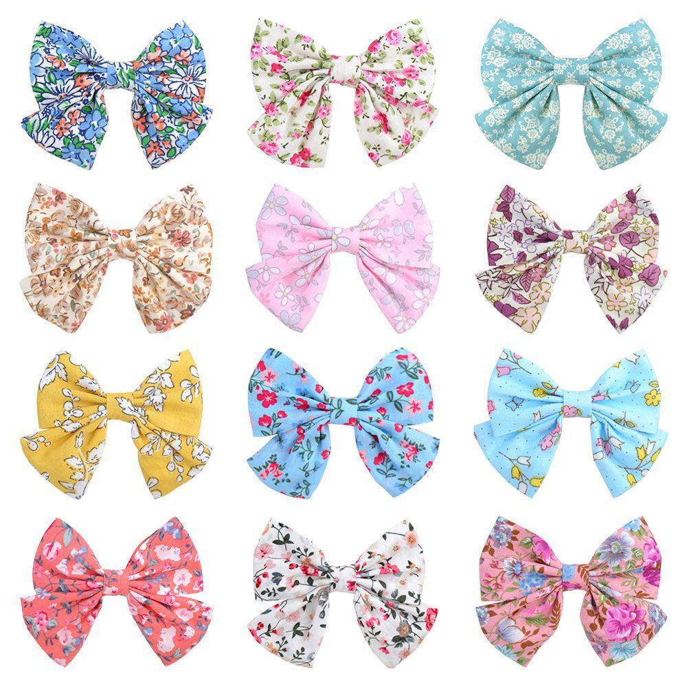 Baby Hair Clips Barrettes Kids Floral Cotton barrette Toddler BB Hairpins Clippers Girls headwear Accessories for Children 2PCS/PAIR KFJ244