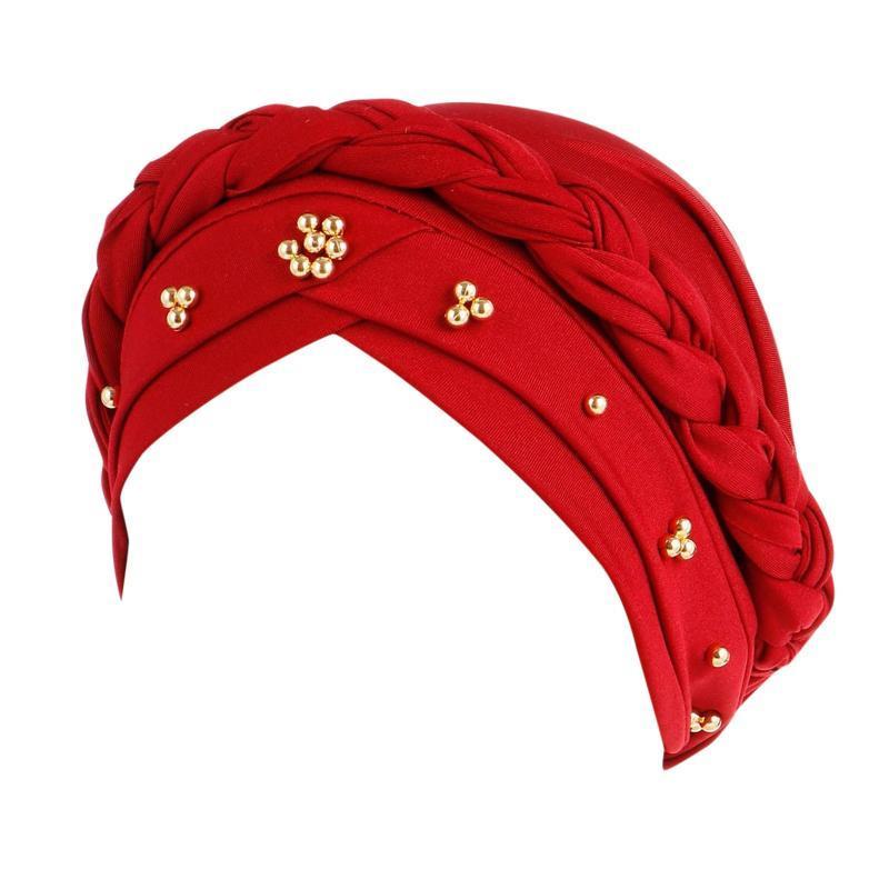 Beanie / Skull Caps Pearl trenza Mujeres Skullies plegable transpirable antideslizante anti-ultravioleta damas cubrir oreja solapa moda vintage sombreros