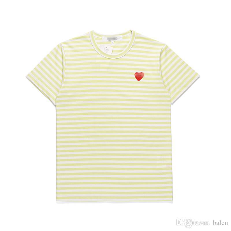 Damen Designer T-shirts C-D-G-Spiel Comes Rot Herz Sport T-Stück des Garcons Streifen Hemd Baumwolle Atmungsaktive Frauen Kleidung Sommer Unisex Low Pr