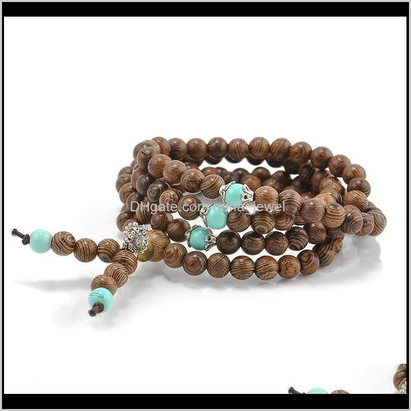 Pulseras de encanto al por mayor1086mm Sandalia de sándalo Meditación Budista Rezo Bead Mala Collar Pulseras Pulsera para mujer Hombres Joyería YPEB4 MCN0U