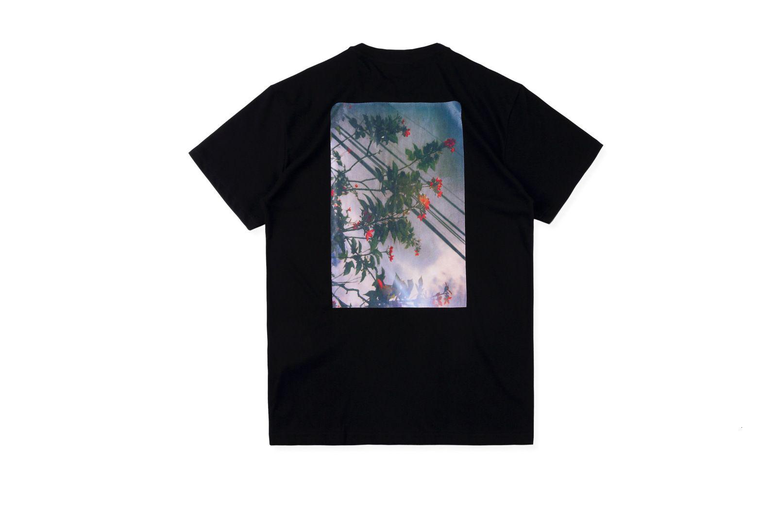 T-shirt à manches courtes à imprimé photo floral pour hommes et femmes