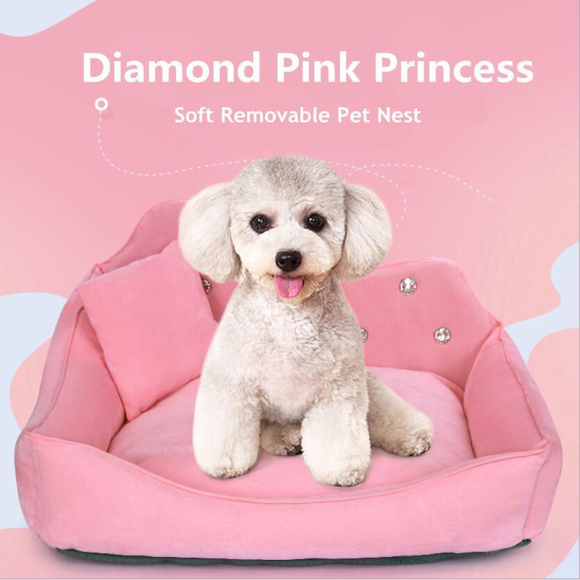 Princesa Pet Nest Luxury Diamante Rosa Sem Pilling Cão Cama Prova de Umidade Anti-Slip Pet Pad Removível Fácil Limpeza Cão Sofá 210224