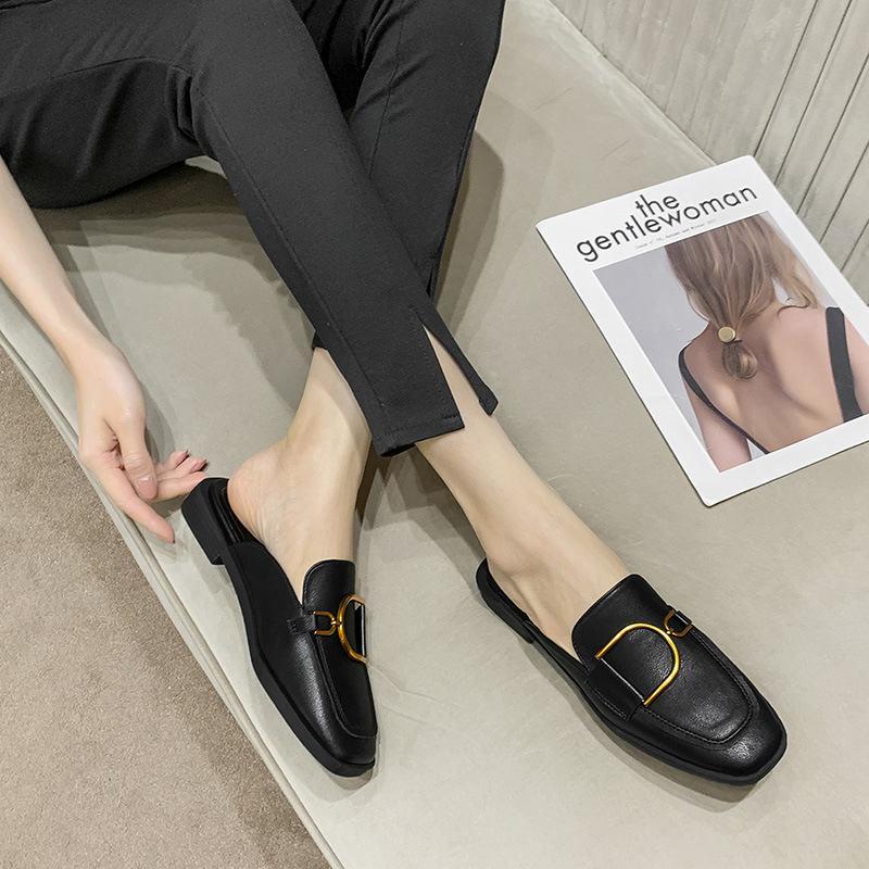 Düz Tek Ayakkabı Kadın Sandalet 2021 Yaz Terlik Bayan Dış Giyim Yaz Lazy Baotou Yarım