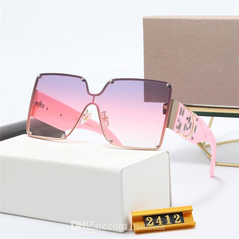 Klasik Marka 2412 Tasarım Güneş Erkekler Kadınlar Polarize 2021 Lüks Ilot Güneş Gözlükleri Bayan UV400 Gözlük Moda Metal Çerçeve Polaroid Cam Lens Kutusu Ile